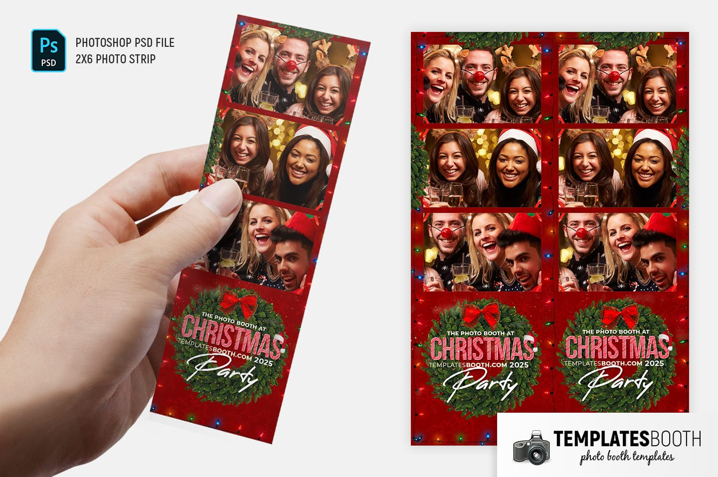 Christmas Party Photo Booth Template (2x6 Photo Strip)