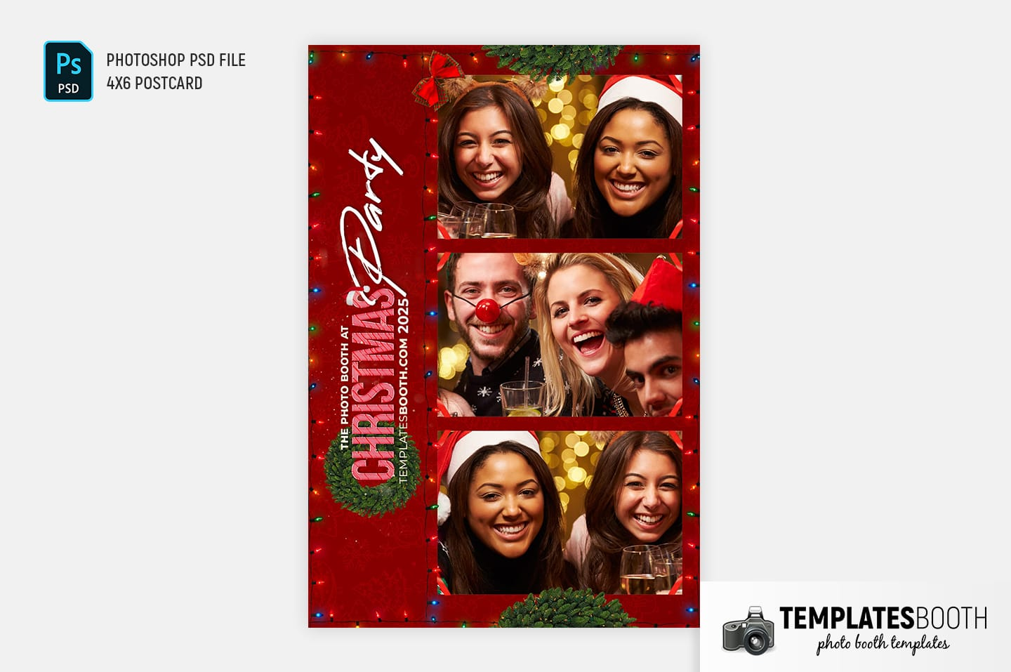 Christmas Party Photo Booth Template (4x6 Postcard)