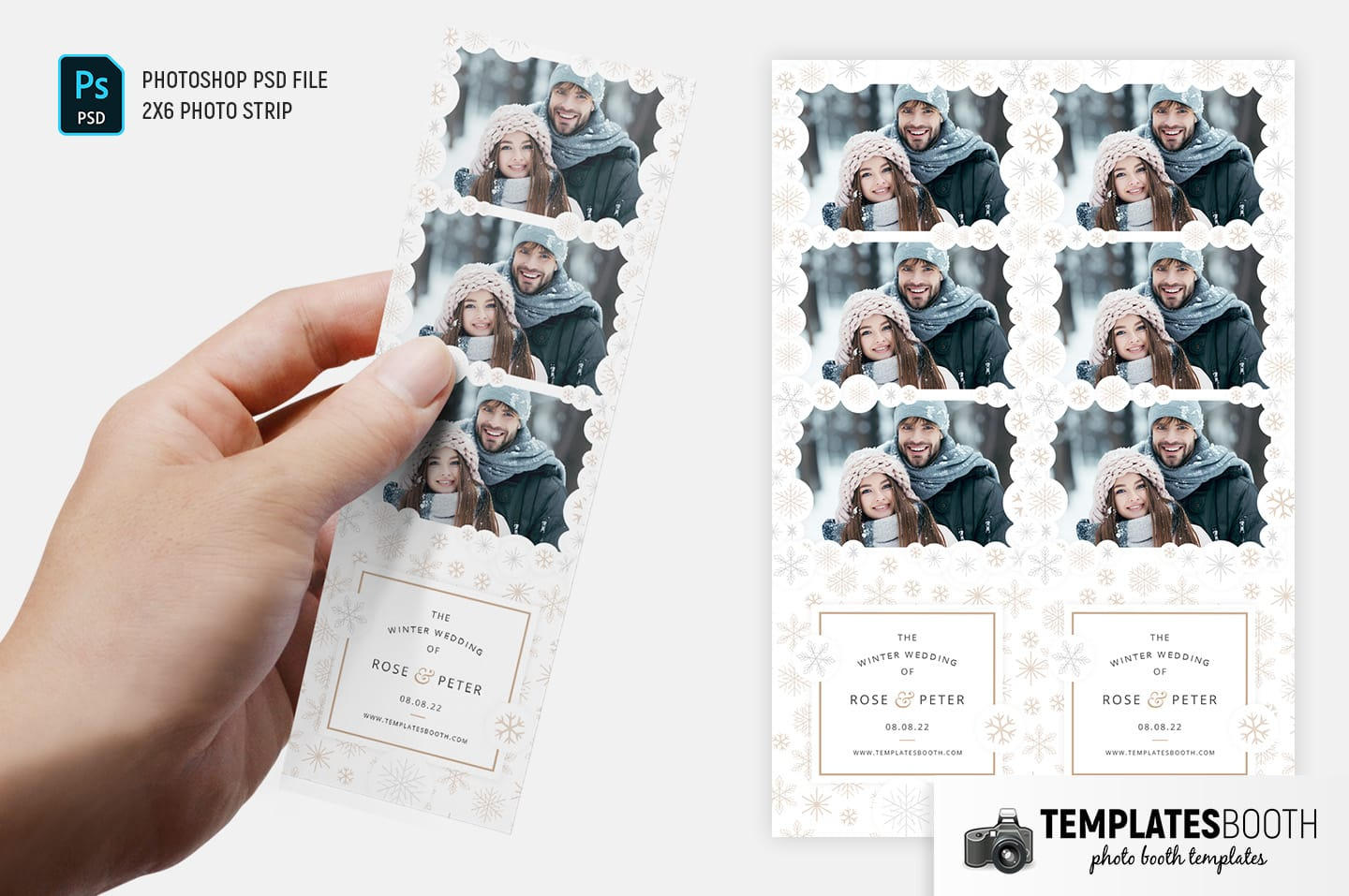 Contemporary Winter Photo Booth Template (2x6 photo strip)