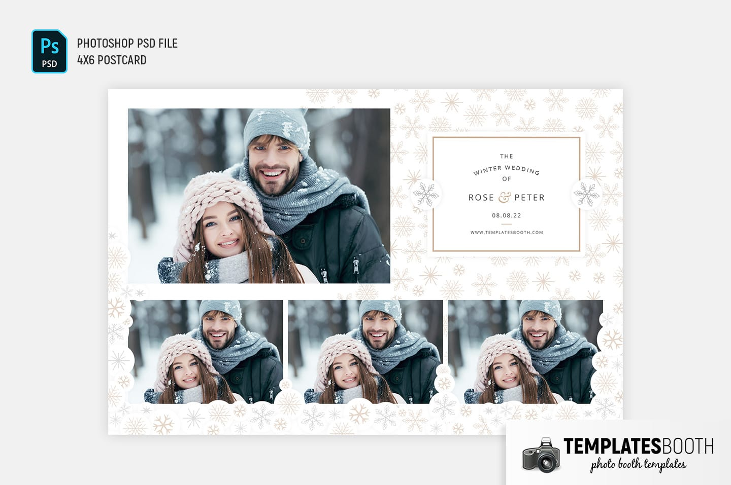 Contemporary Winter Photo Booth Template (4x6 postcard)