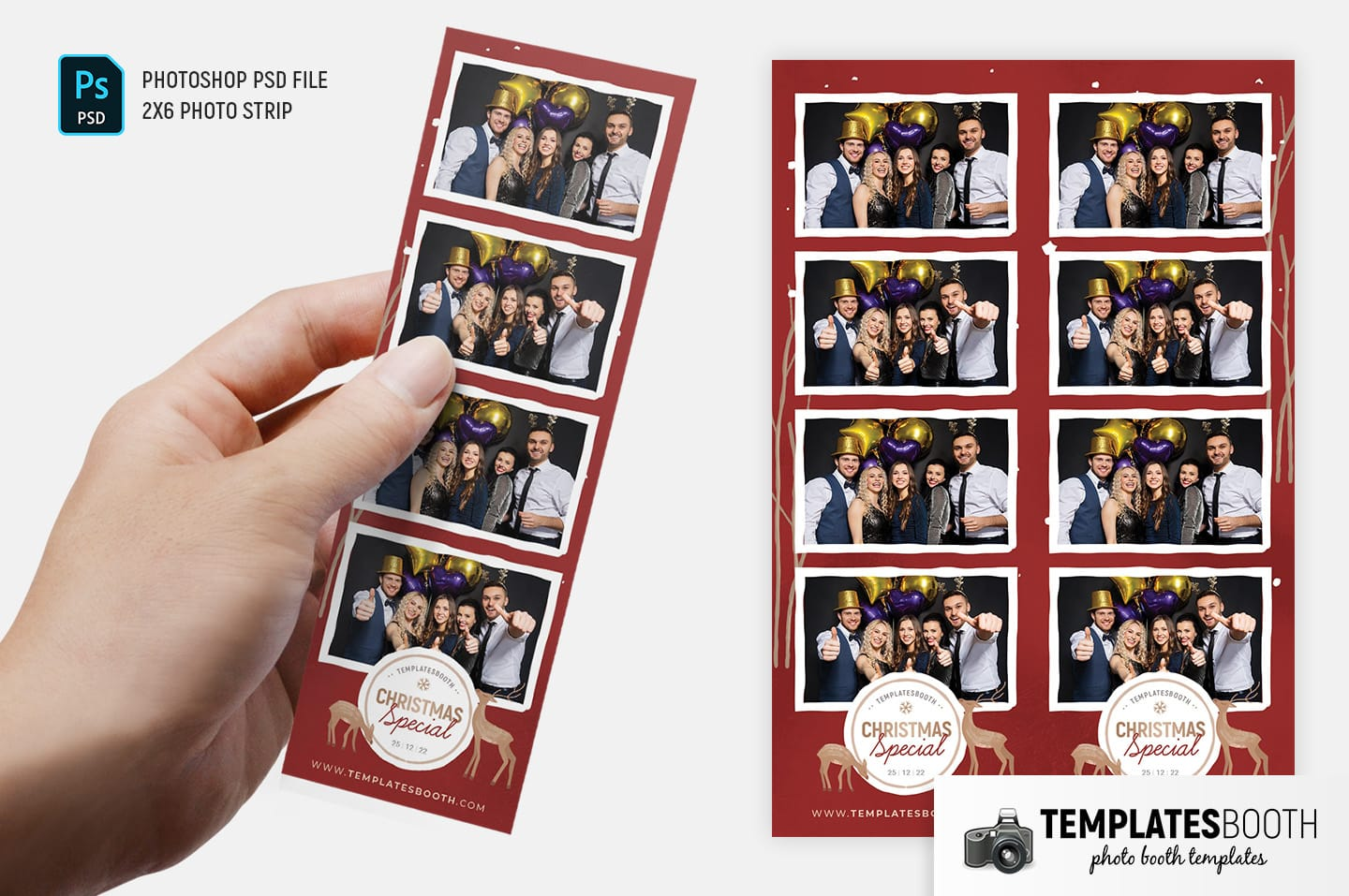Christmas Special Photo Booth Template (2x6 photo strip)
