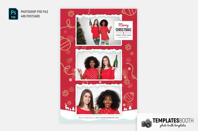 Merry Christmas Photo Booth Template (4x6 postcard)