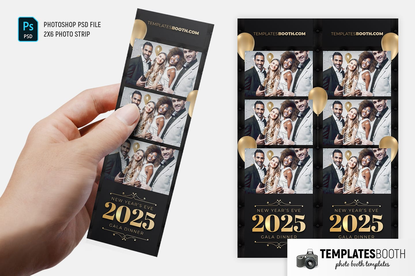 New Year's Eve Party Photo Booth Template (2x6 photo strip)