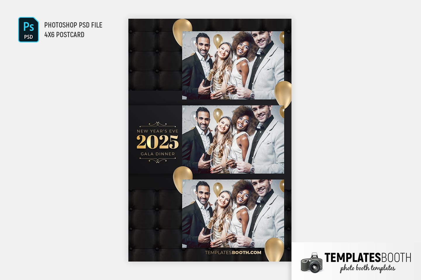New Year's Eve Party Photo Booth Template (4x6 postcard)