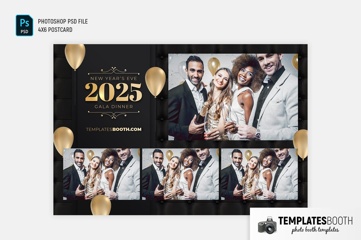 New Year's Eve Party Photo Booth Template (4x6 postcard landscape)