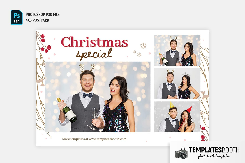Rustic Christmas Photo Booth Template (4x6 postcard)