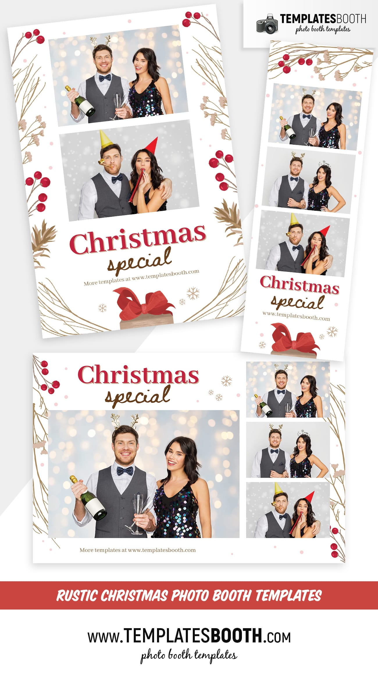 Rustic Christmas Photo Booth Templates