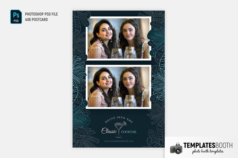 Cocktail Bar Photo Booth Template (4x6 postcard portrait)