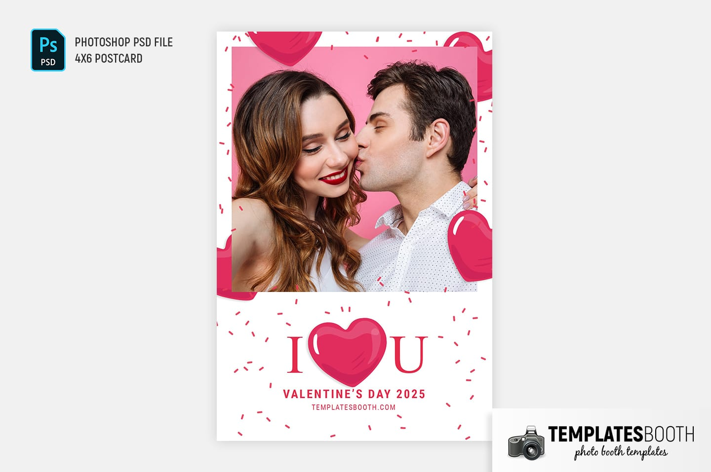 I Love You Valentine's Day Photo Booth Template (centre postcard)