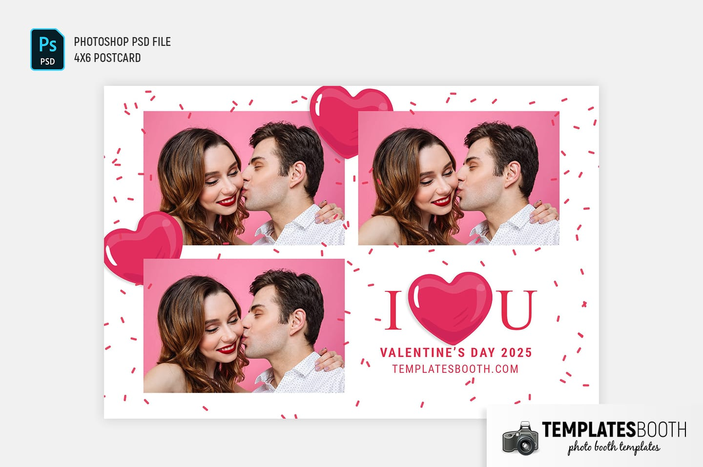 I Love You Valentine's Day Photo Booth Template (4x6 postcard)