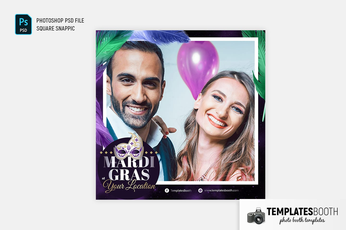 Mardi Gras Photo Booth Template (Snappic template)
