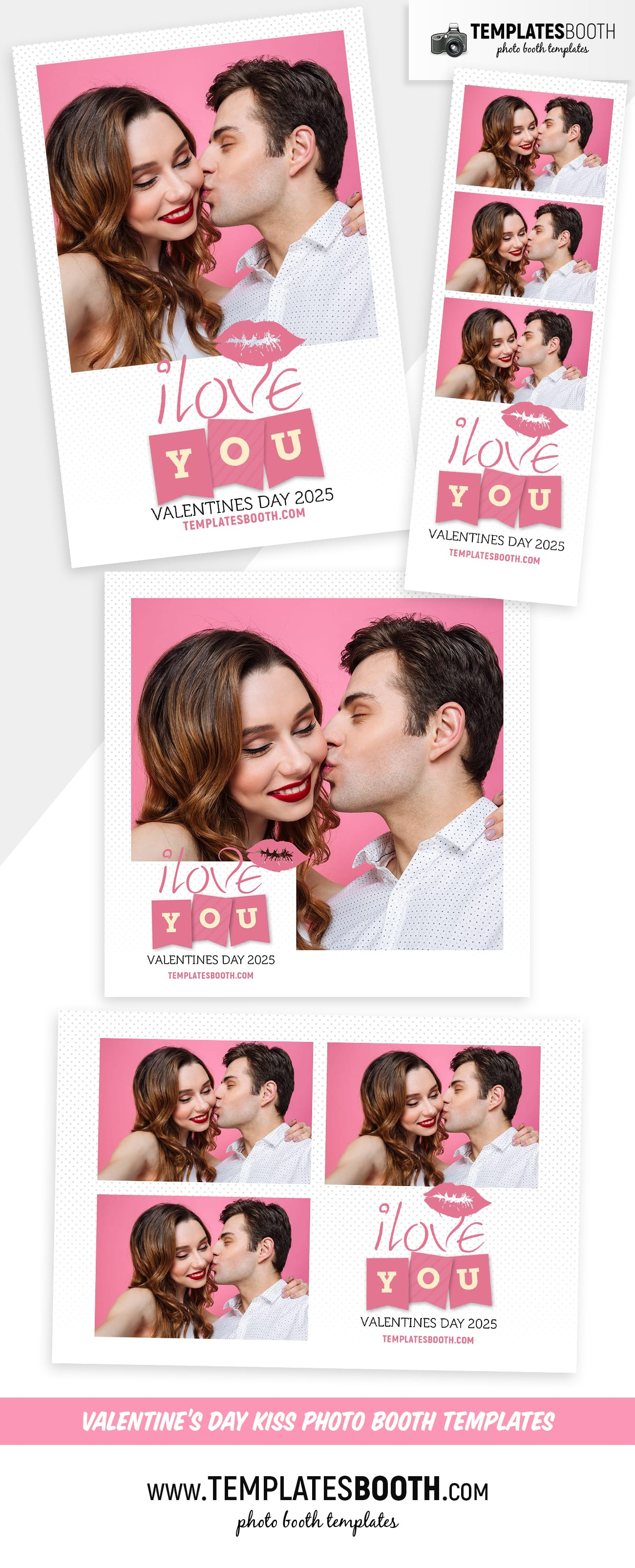 Valentines Kiss Photo Booth Template (full preview)