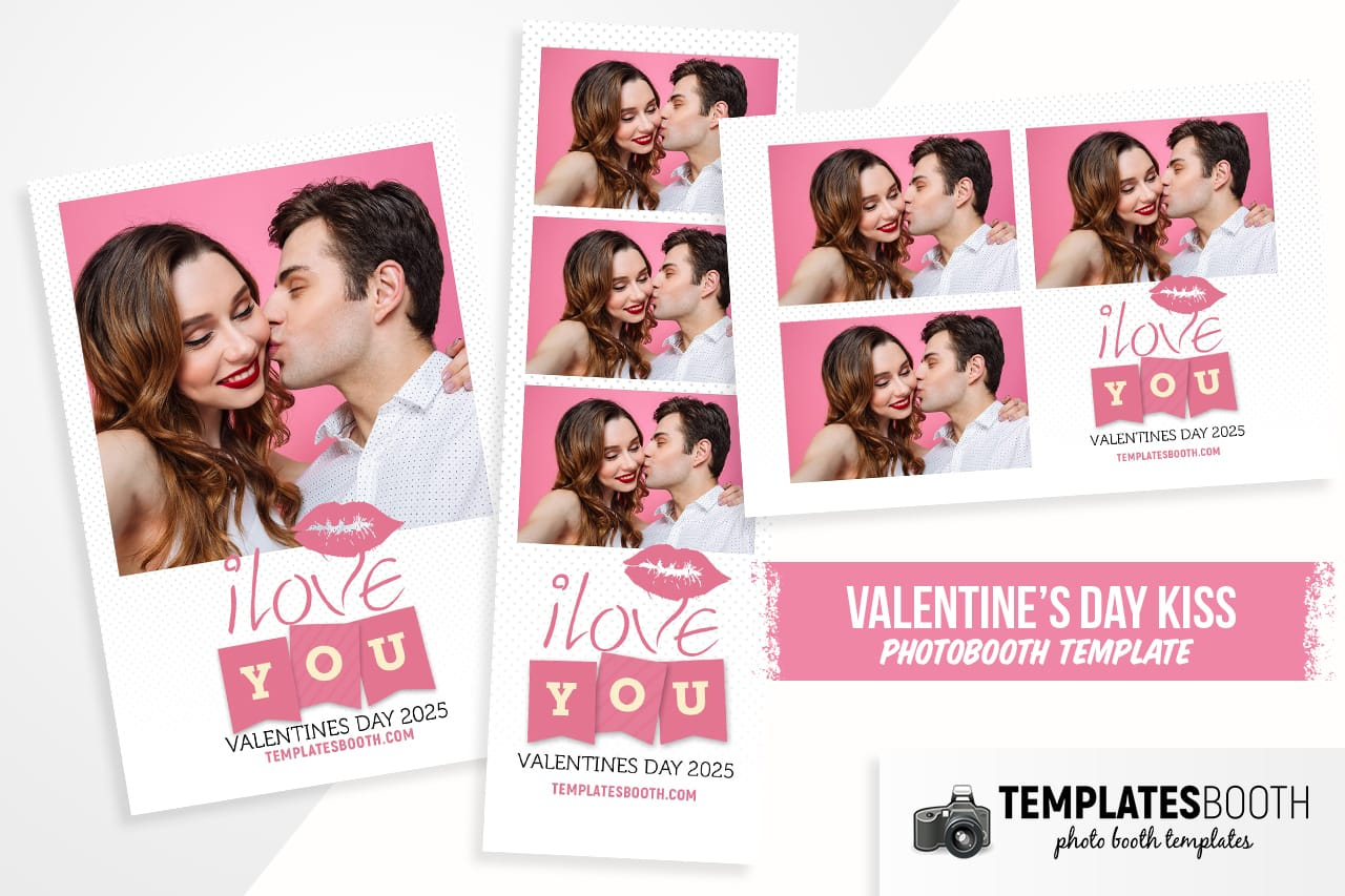 Valentines Kiss Photo Booth Template