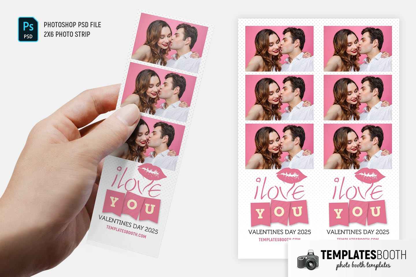 Valentines Kiss Photo Booth Template (2x6 photo strip)