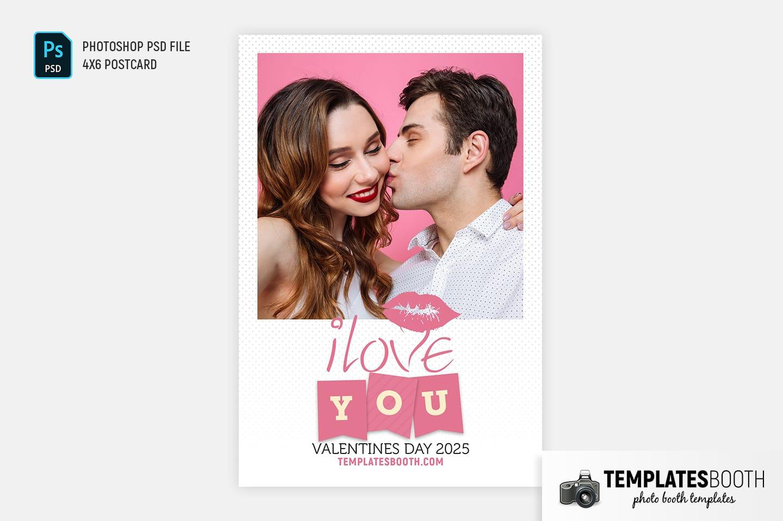 Valentines Kiss Photo Booth Template (4x6 postcard portrait)