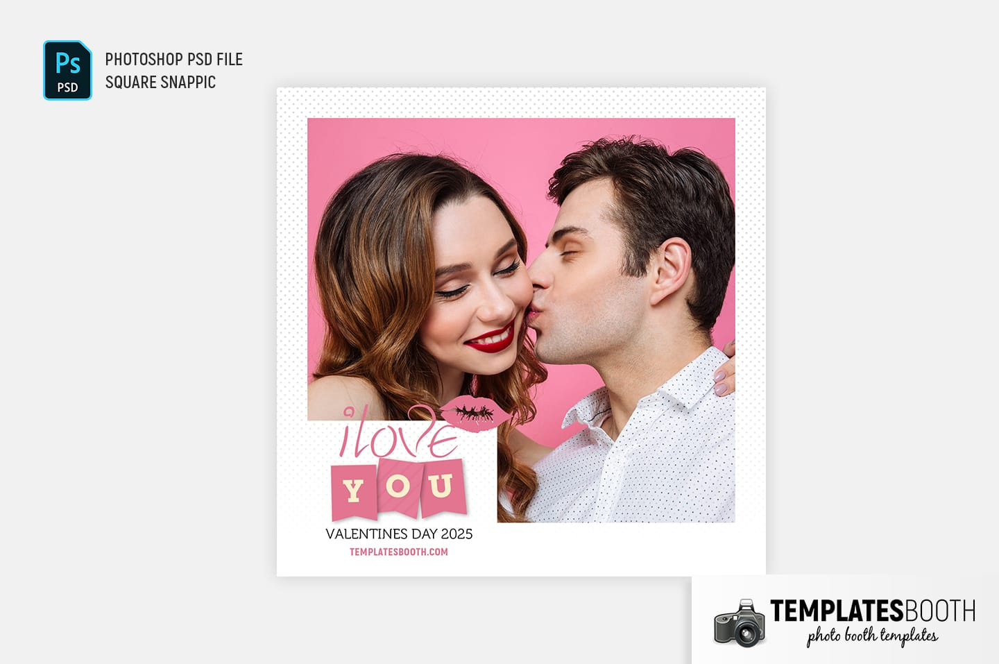 Valentines Kiss Photo Booth Template (snappic)