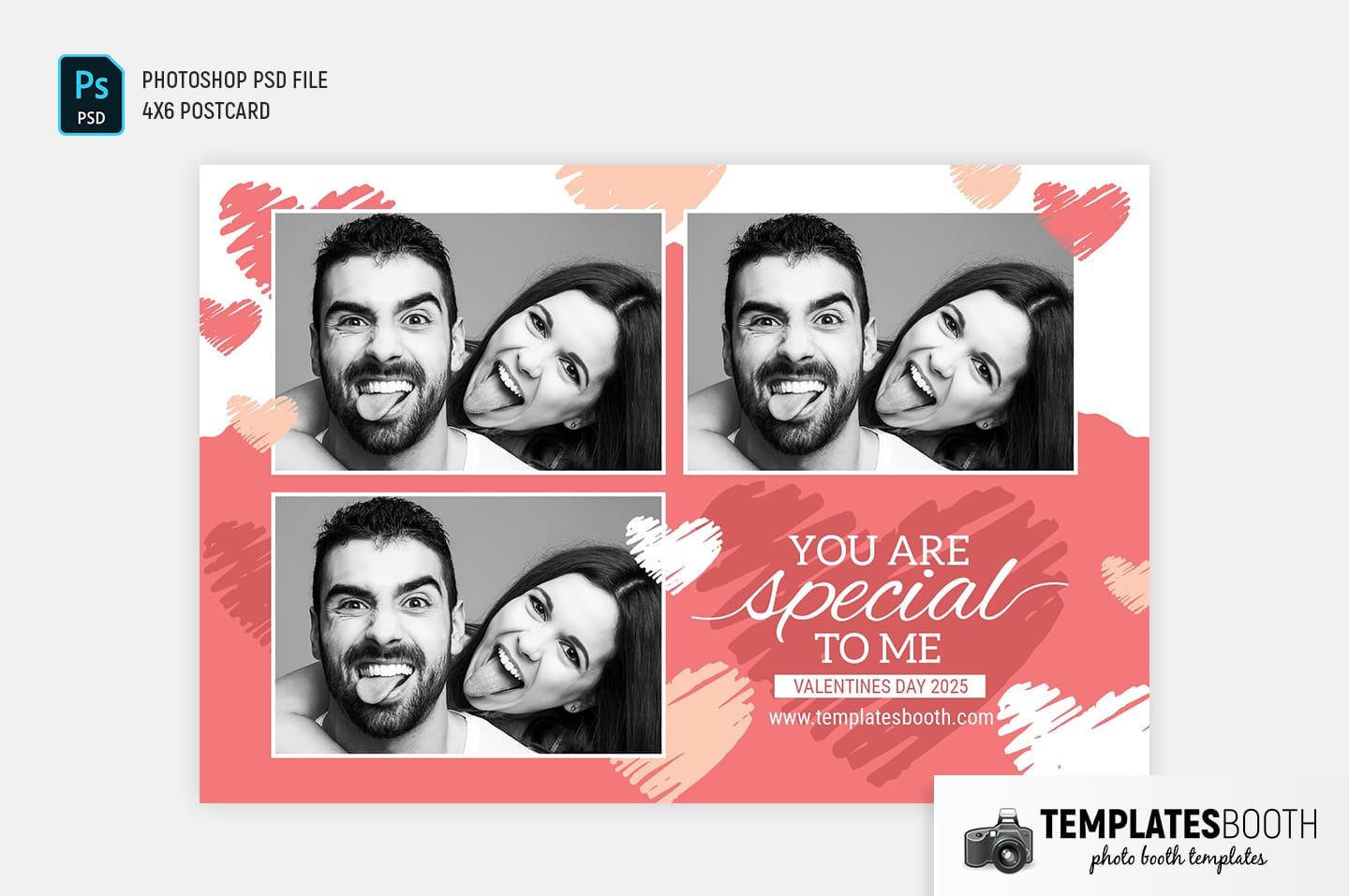 Valentine's Day Photo Booth Template (landscape postcard)