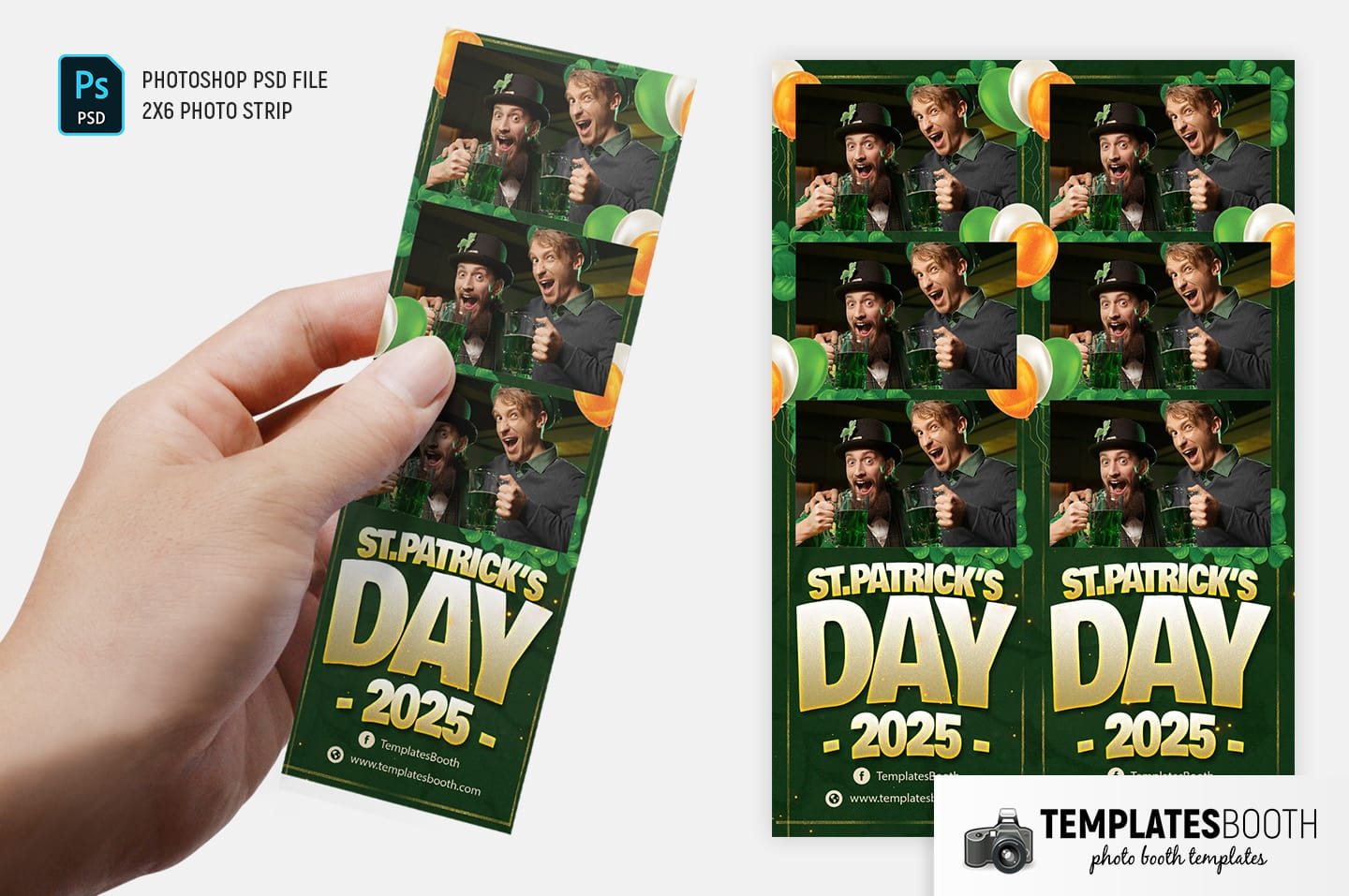 St. Patrick's Day Photo Booth Template (2x6 photo strip)