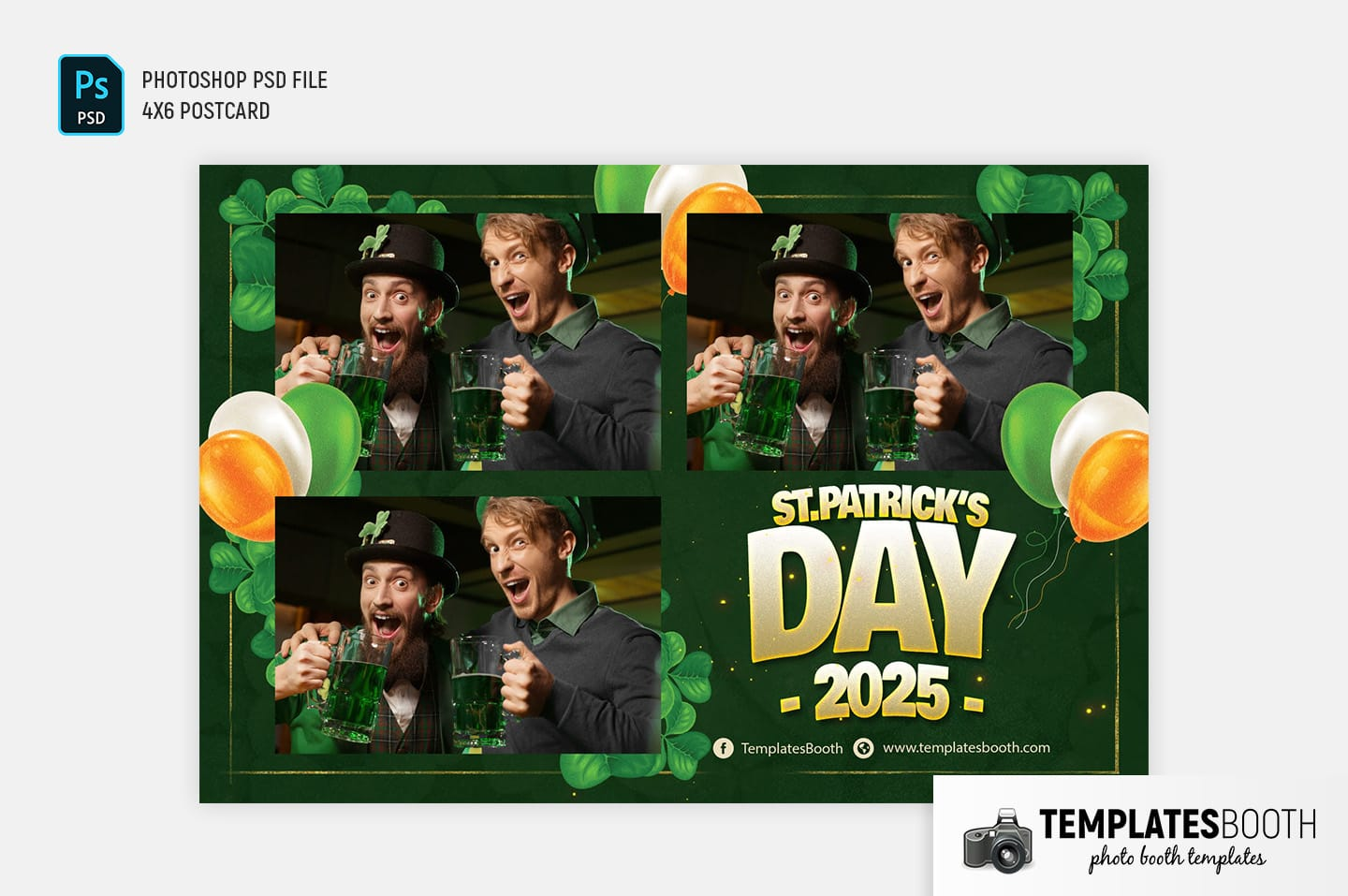 St. Patrick's Day Photo Booth Template (4x6 postcard landscape)