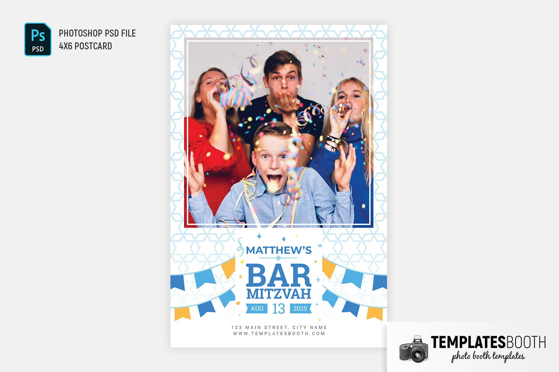 Bar Mitzvah Photo Booth Template (4x6 postcard)