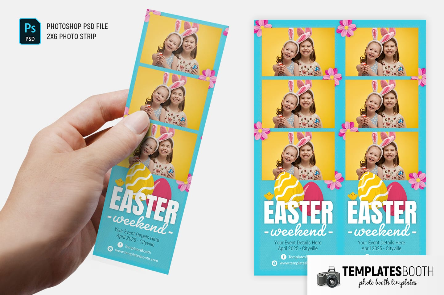 Easter Photo Booth Template (2x6 photo strip)