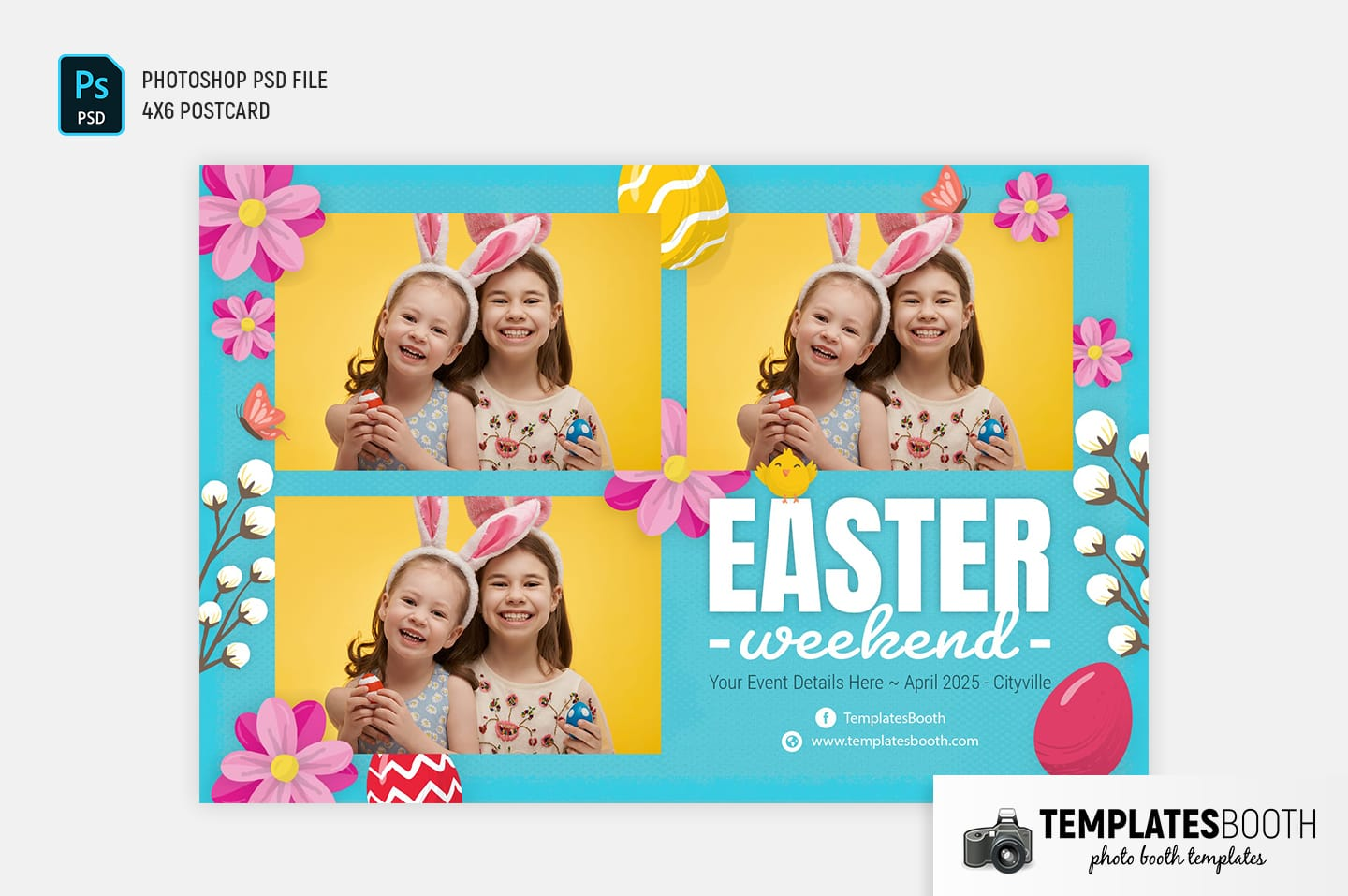 Easter Photo Booth Template (4x6 postcard)