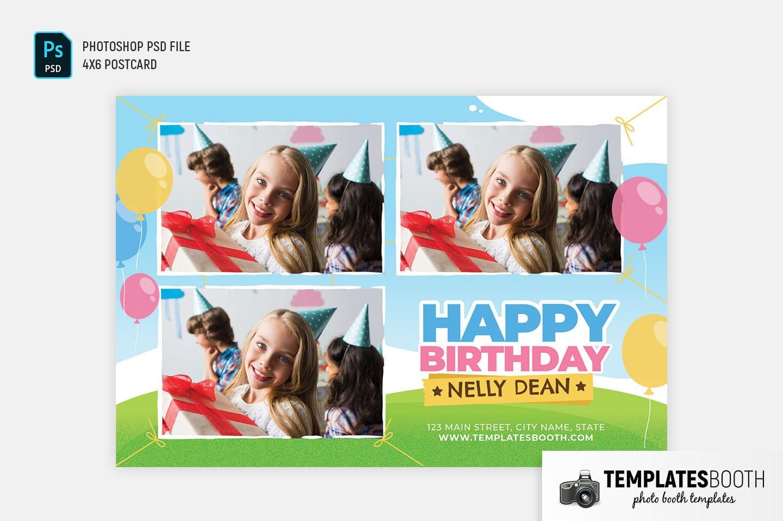 Happy Birthday Photo Booth Template (4x6 Postcard)