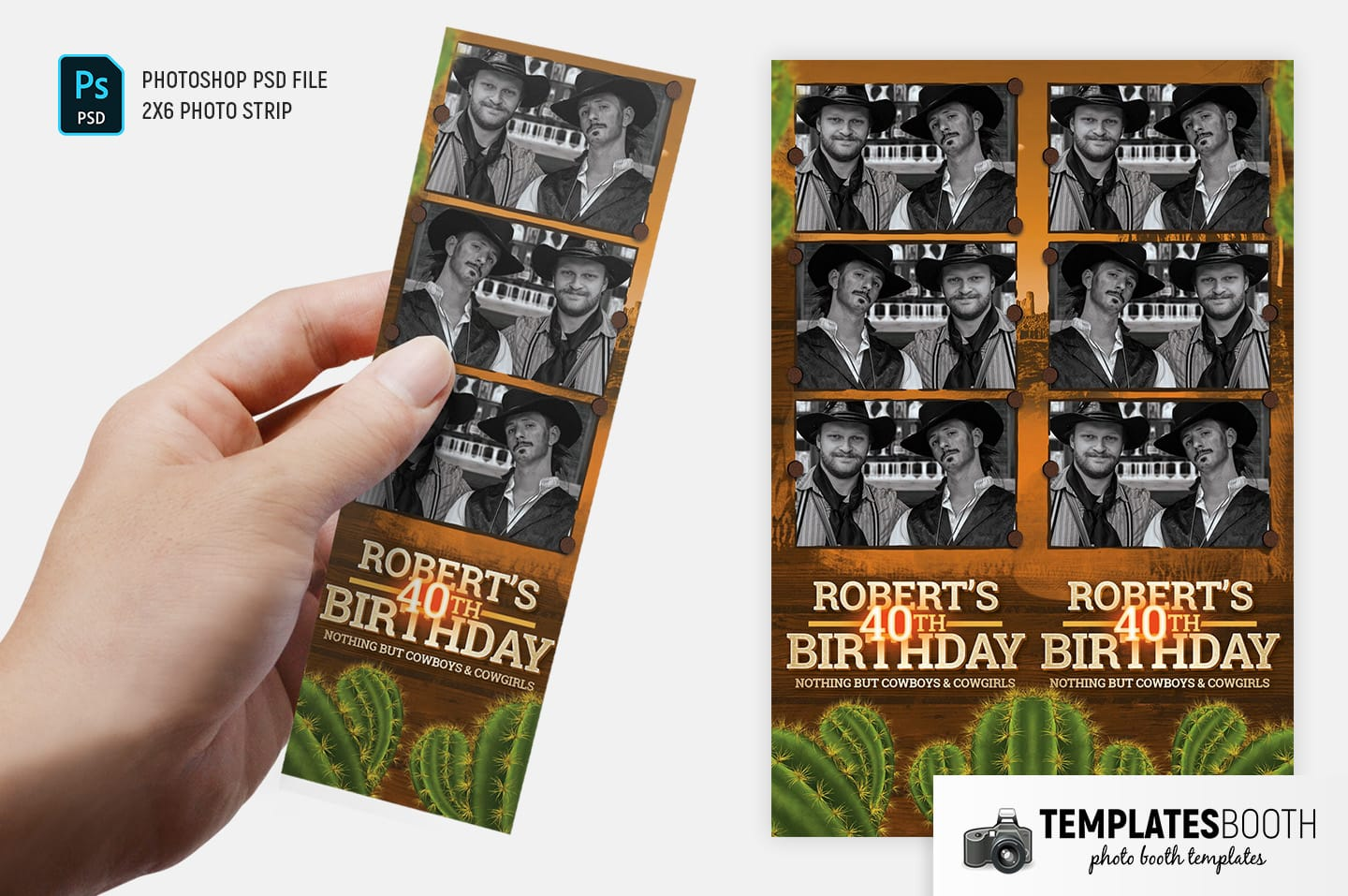 Country & Western Photo Booth Template (2x6 photo strip)