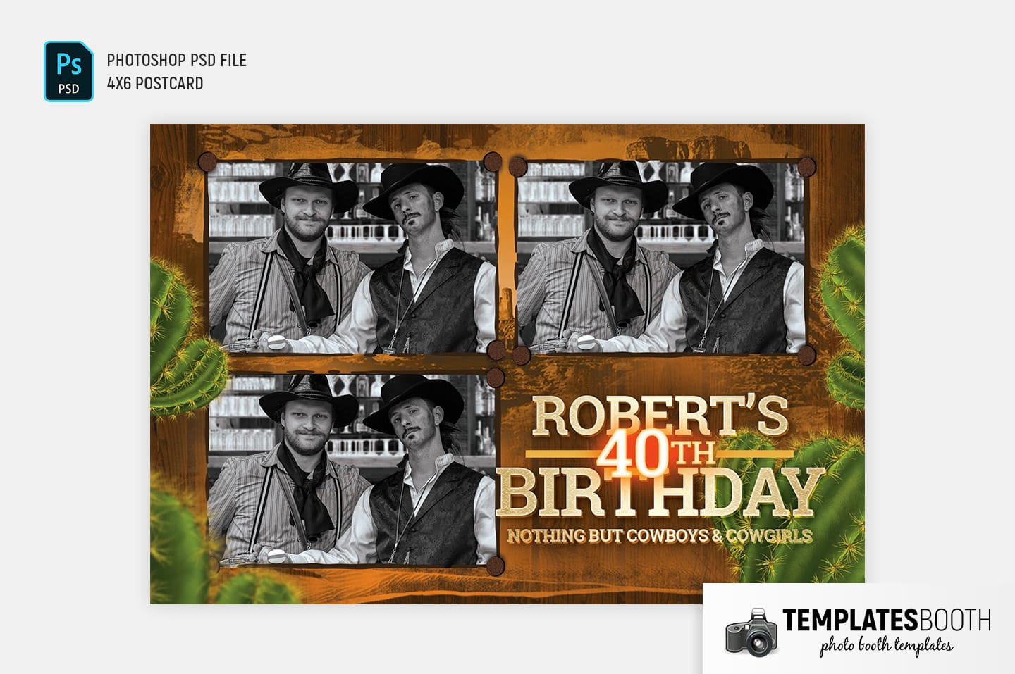 Country & Western Photo Booth Template (4x6 postcard landscape)