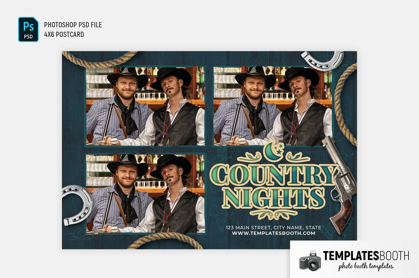 Country Nights Photo Booth Template (4x6 postcard landscape)