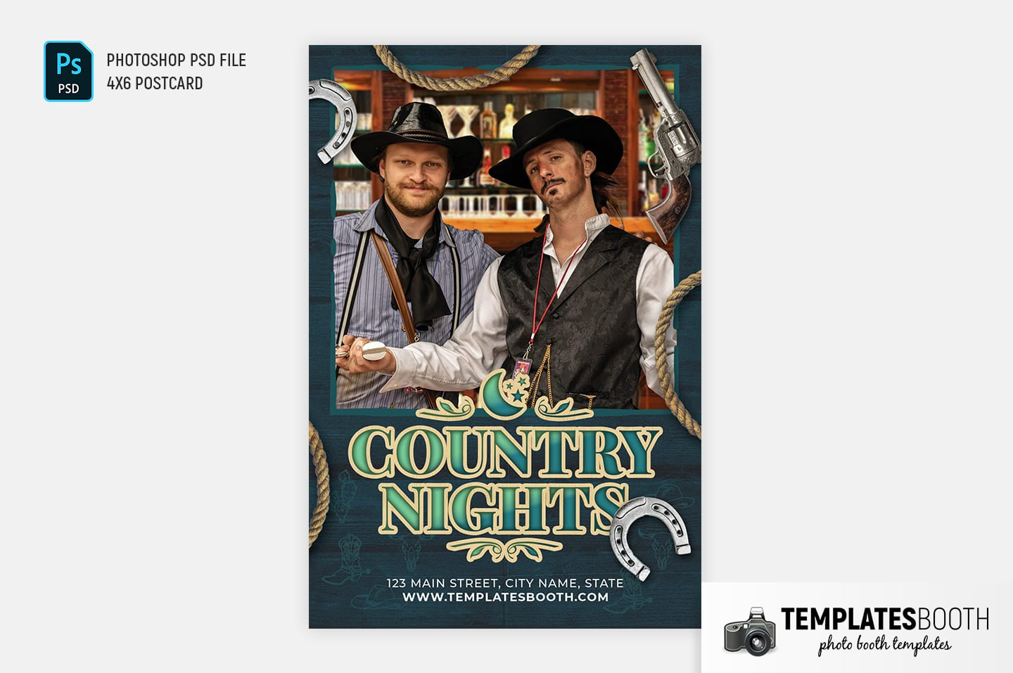 Country Nights Photo Booth Template (4x6 postcard portrait)