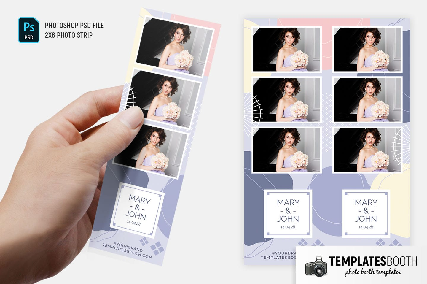 Abstract Pastel Photo Booth Template (2x6 photo strip)