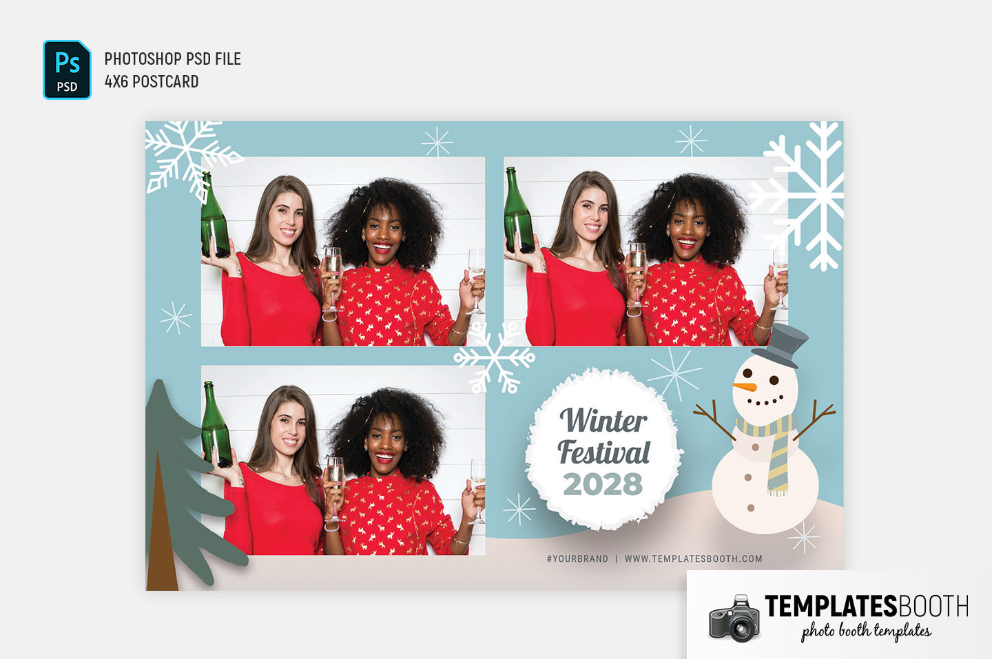 Winter Festival Photo Booth Template (4x6 postcard)