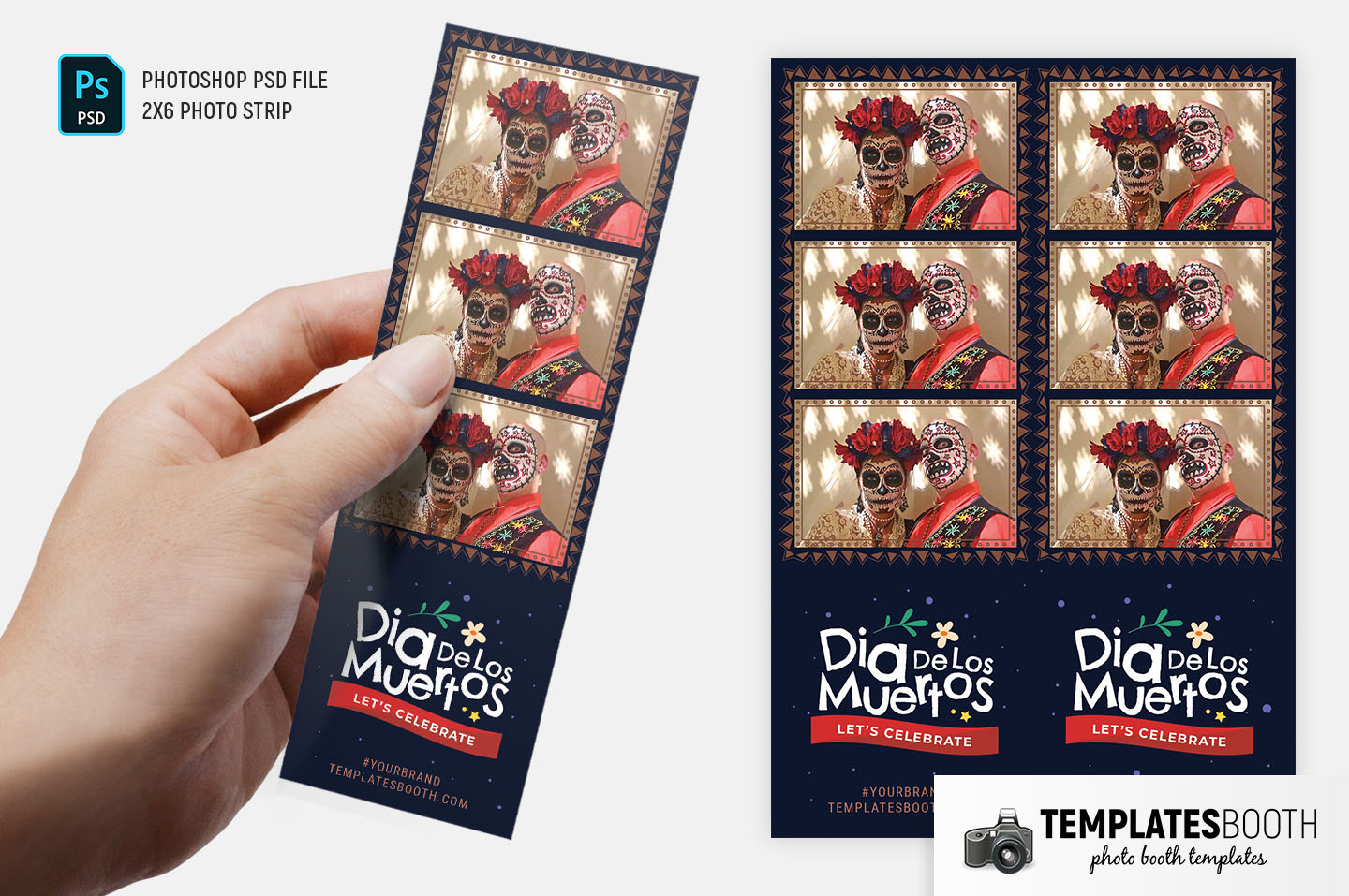 Day of The Dead Photo Booth Template (2x6 photo strip)