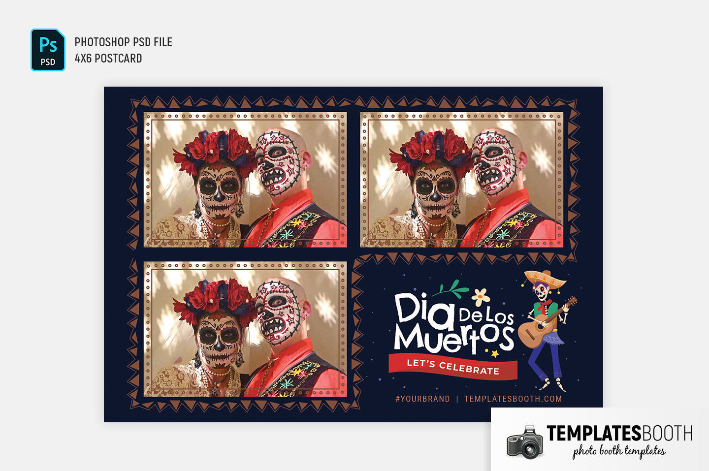 Day of The Dead Photo Booth Template (4x6 postcard)