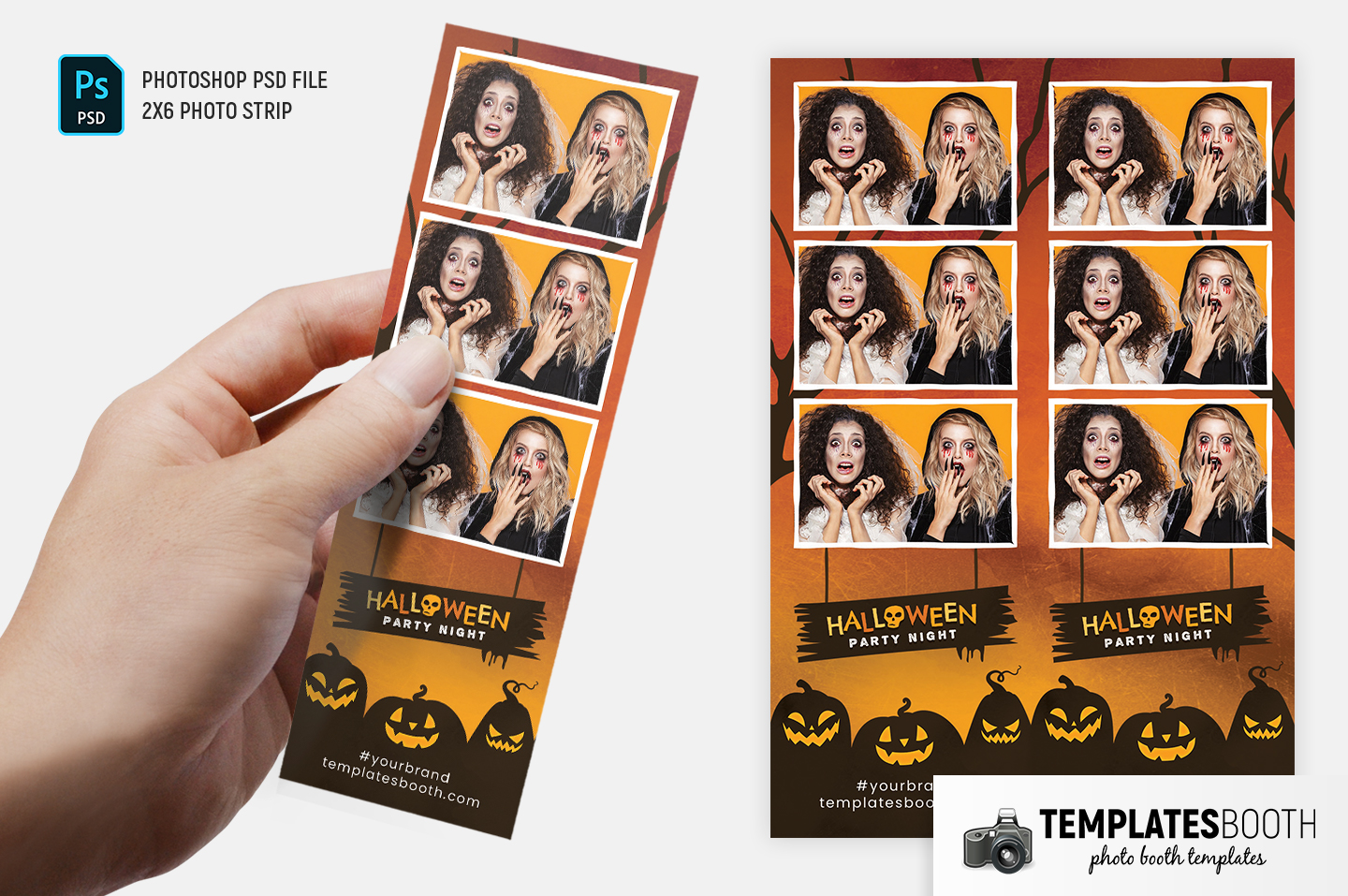 """Halloween Party Photo Booth Template (2x6"""" Photo Strip)"""
