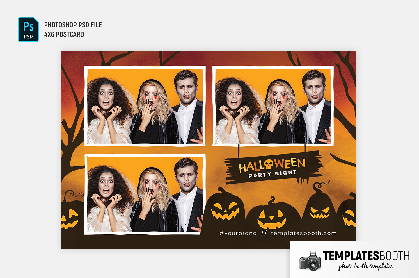 """Halloween Party Photo Booth Template (4x6"""" Landscape)"""