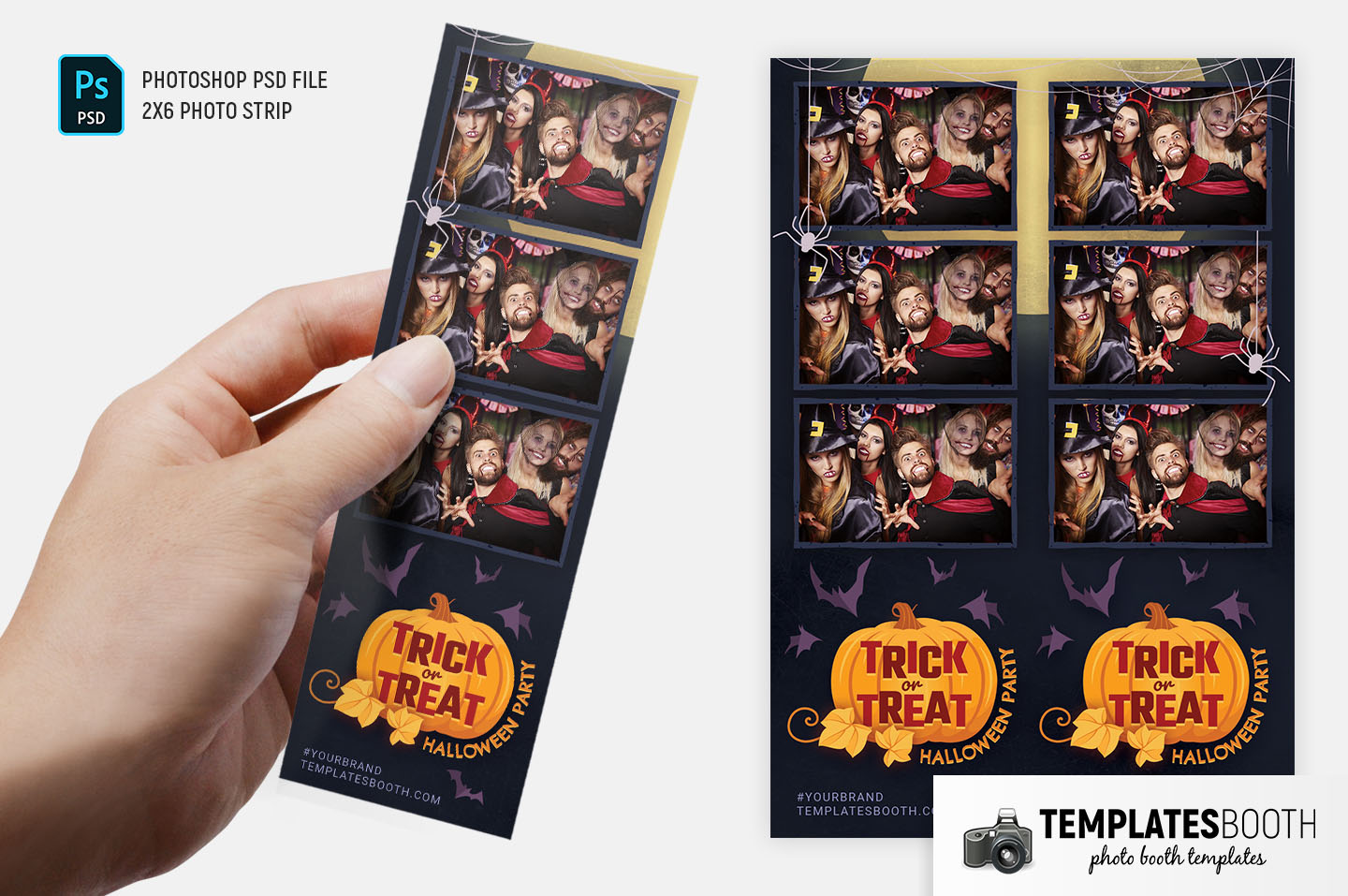 """Trick or Treat Photo Booth Template (2x6"""" Photo Strip)"""