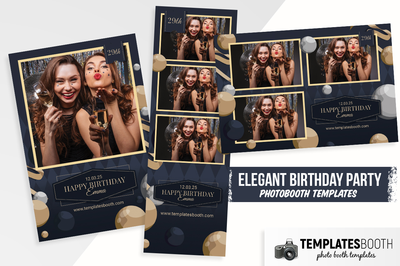 Elegant Birthday Party Photo Booth Template