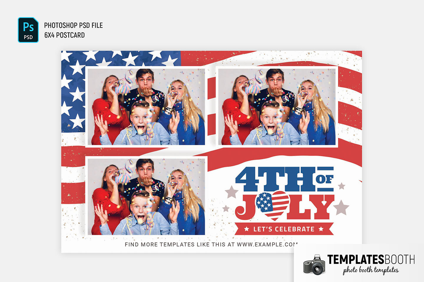 Modern 4th July Photo Booth Template (PSD, DSLR Booth)