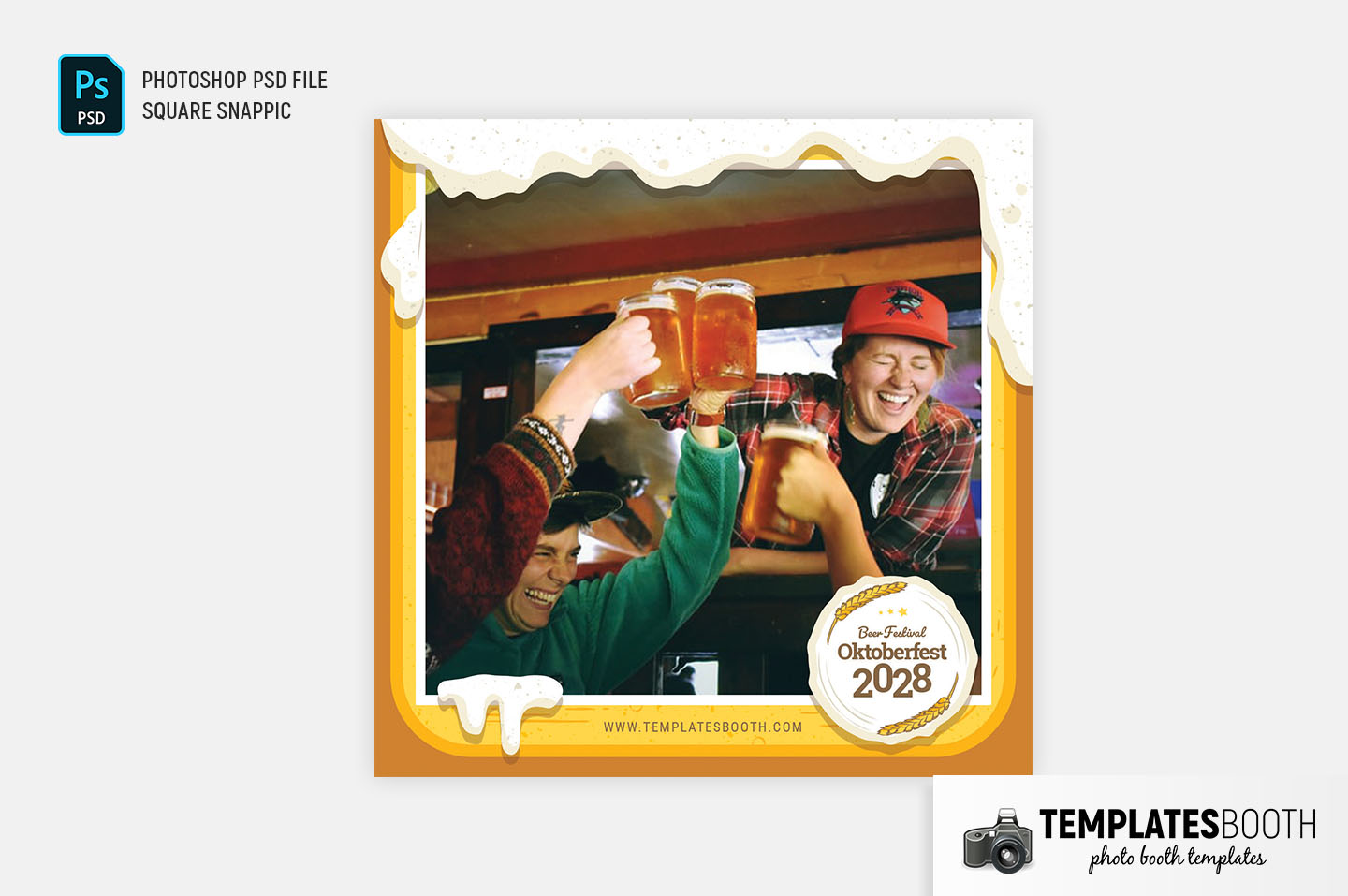 Frothy Beer Oktoberfest Photo Booth Template - PSD, PNG & DSLR Booth