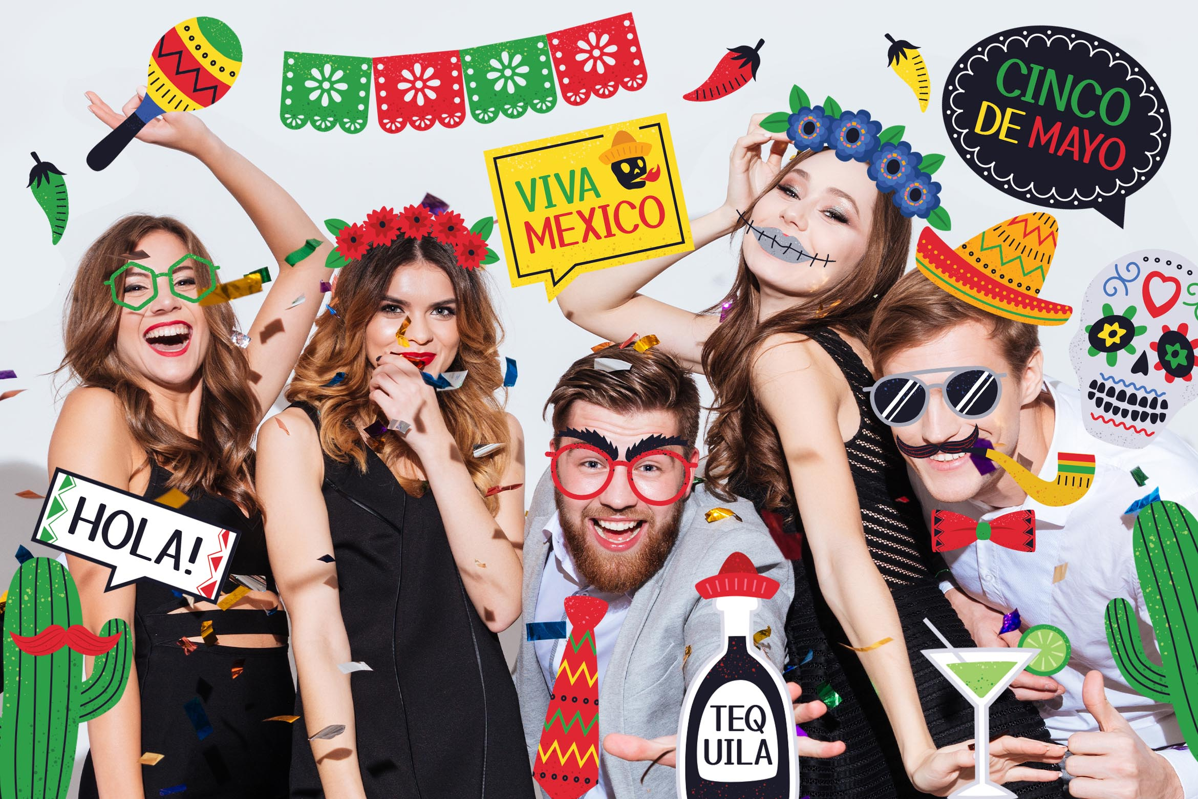 Mexican Photo Booth Digital Props (PSD, PNG, PDF formats)