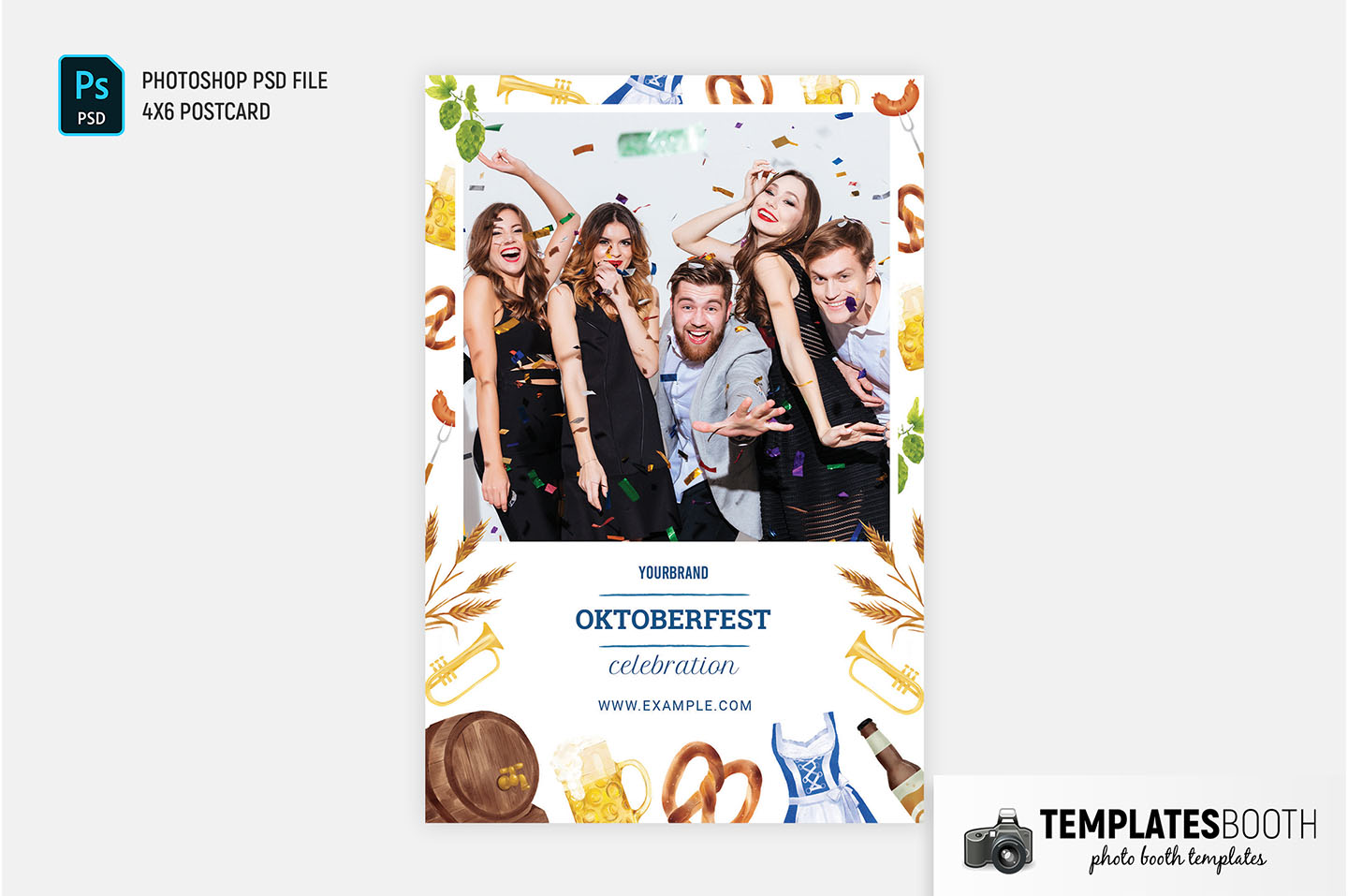 Oktoberfest Photo Booth Template for DSLR Booth, Photoshop & PNG