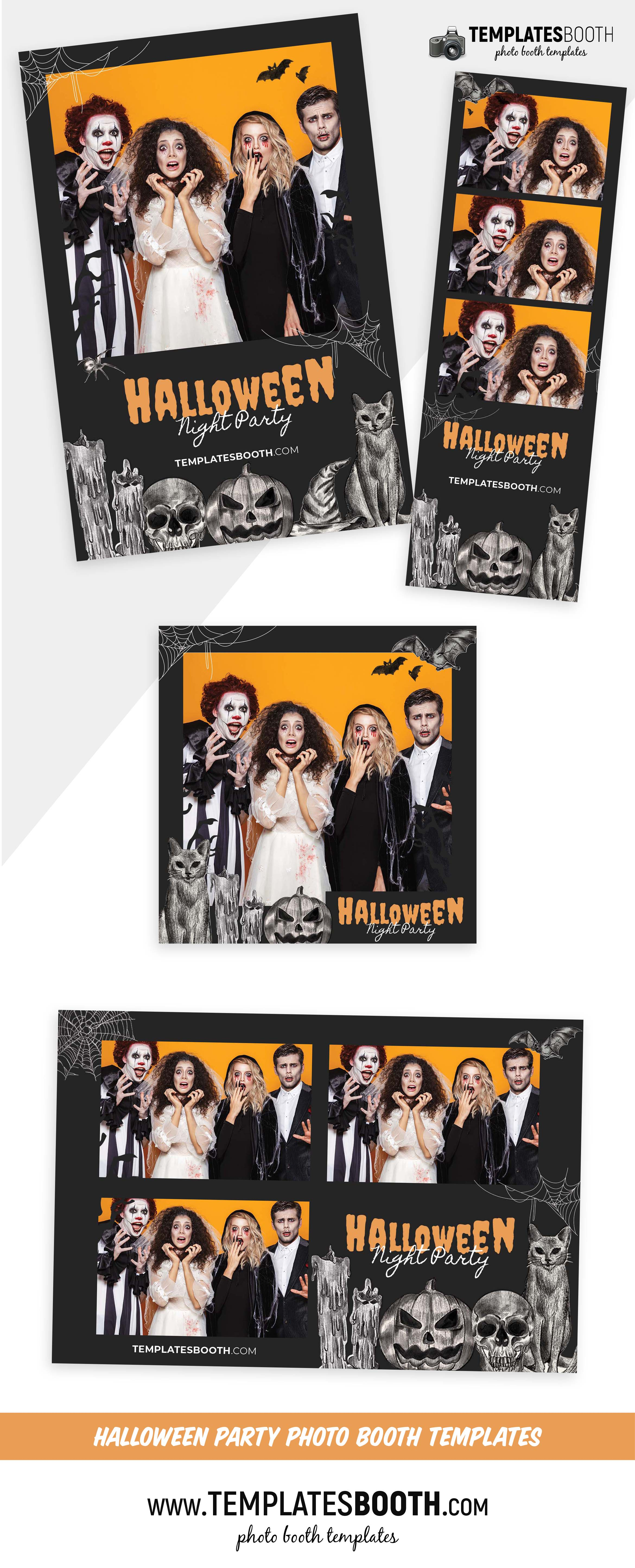 Sketched Halloween Photo Booth Template (For DSLR Booth, PNG & Photoshop PSD)