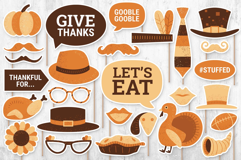 Thanksgiving Digital Props (PNG, PSD, PDF Formats)