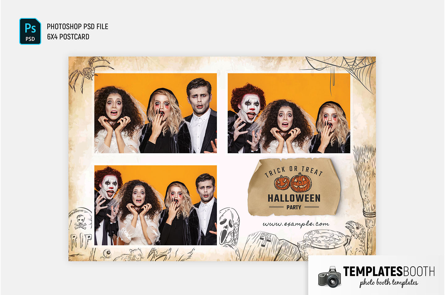 Worn Paper Halloween Photo Booth Template