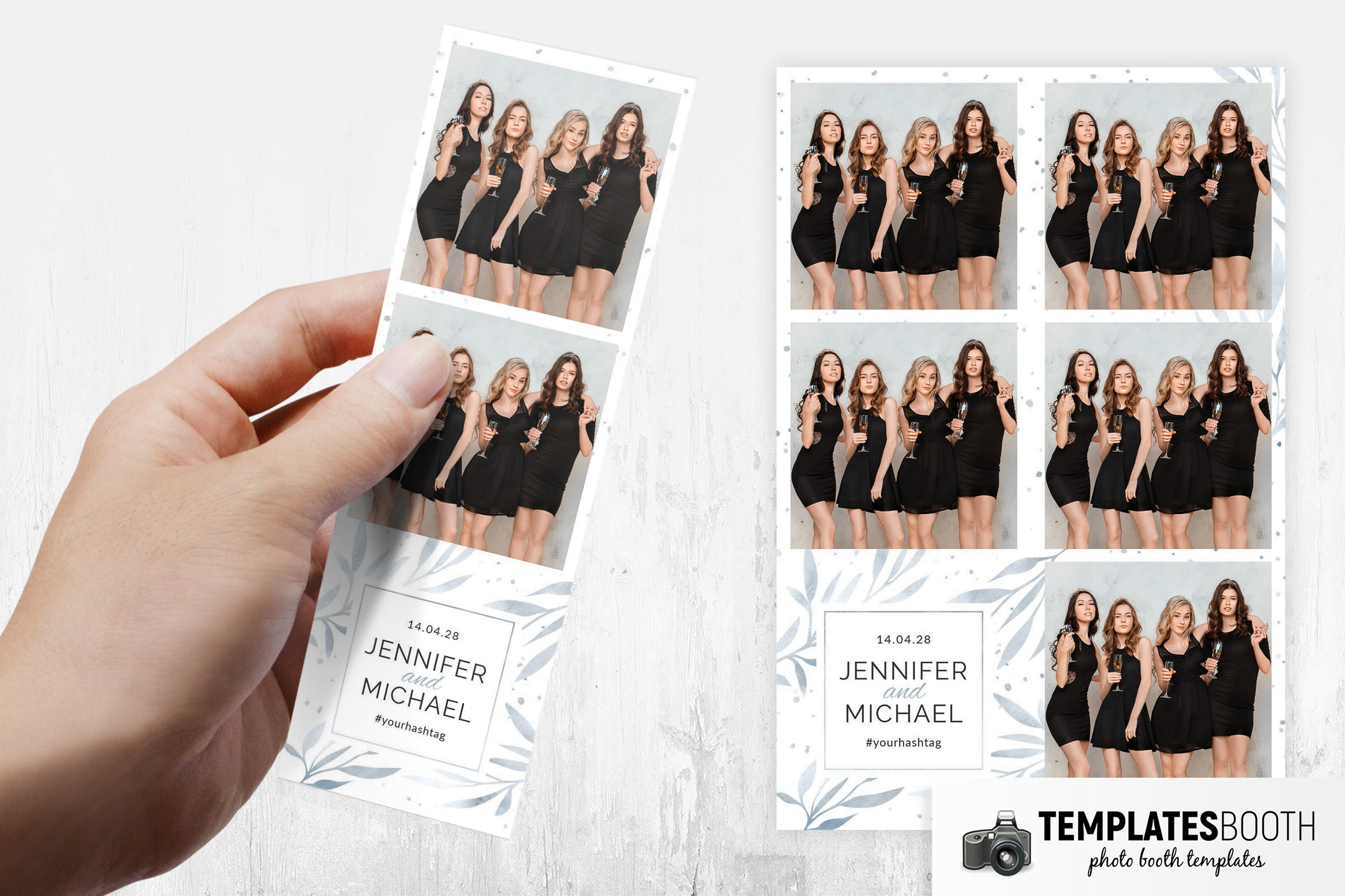 Simple White Rustic Photo Booth Template Layout