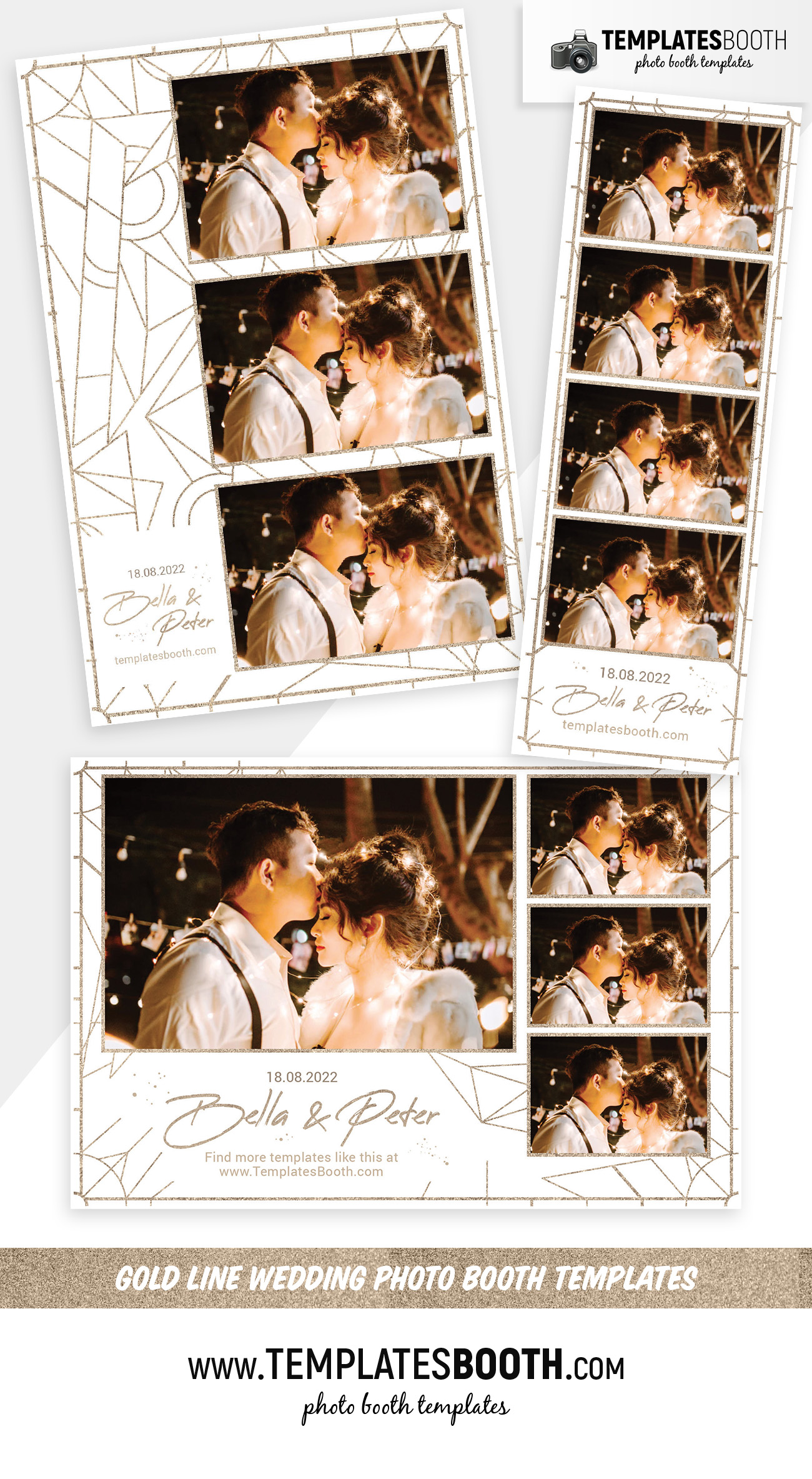Gold Line Wedding Photo Booth Templates