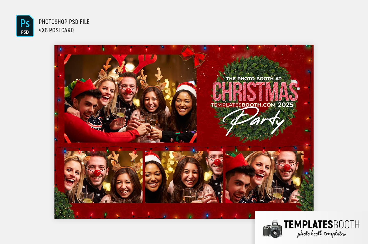 Christmas Party Photo Booth Template (4x6 Postcard Landscape)