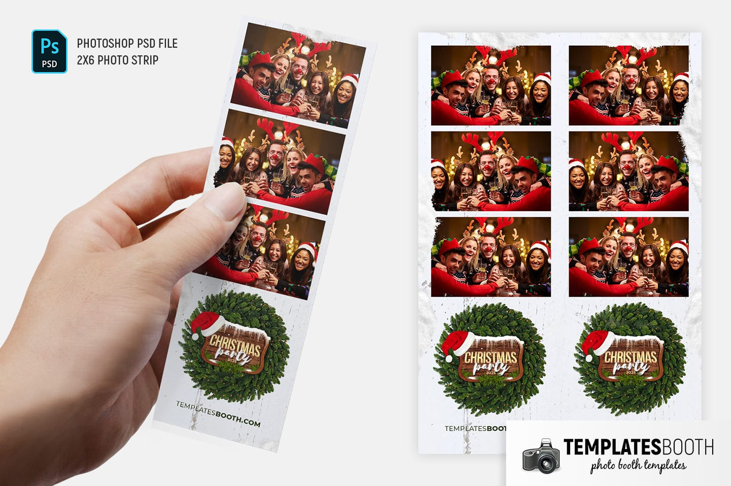 Festive Christmas Photo Booth Template (2x6 photo strip)